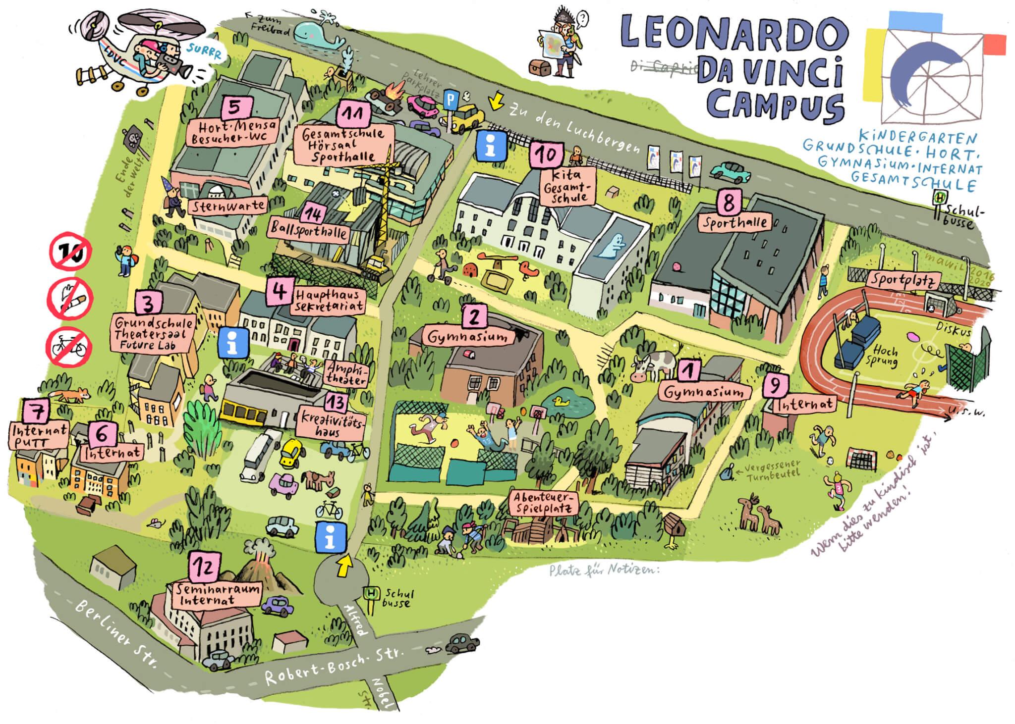 Handgemalter Lageplan vom Leonardo Da Vinci Campus